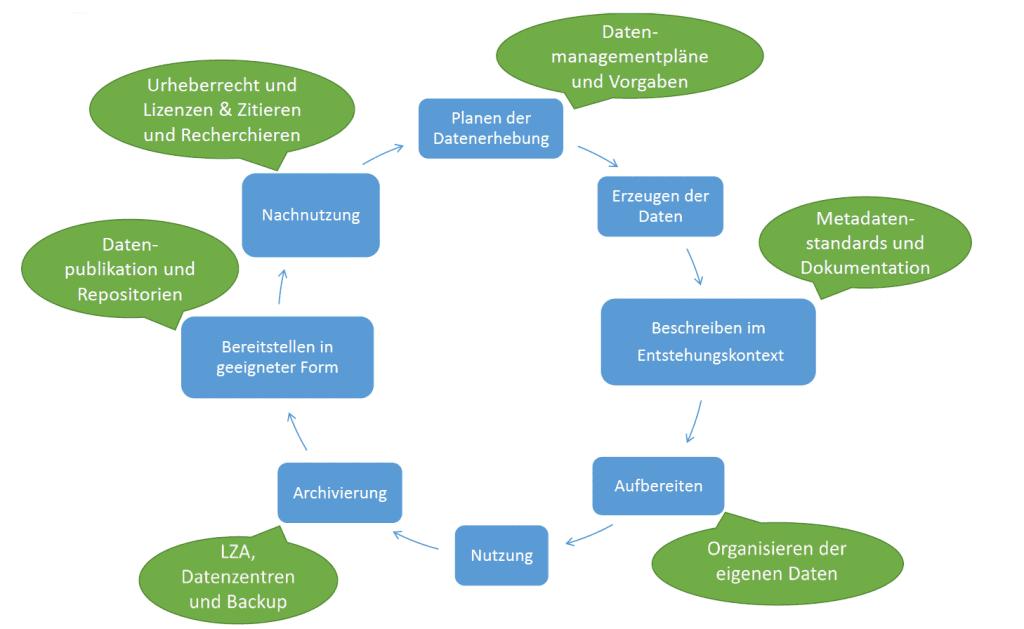 Der Kreislauf besteht aus dem Planen der Datenerhebung, Dem Erzeugen der Daten, Dem Beschreiben des Entstehungskontexts, dem Aufbereiten, der eigentlichen Nutzung der Daten, dem Archivieren, dem Bereitstellen in geeigneter Form und der Nachnutzung von existierenden Daten für eigene Forschungsfragen. Zum Punkt Planung der Datenerhebung gibt es Schulungen zu Datenmanagementplänen und zu Vorgaben von Universität und Förderern. Zum Punkt Beschreiben im Entstehungskontext gibt es Schulungen zu Metadatenstandards und zur Dokumentation. Schulungen zur Organisation eigener Daten passen thematisch zum Aufbereiten von Daten.  Zum Thema Archivierung kann passen Schulungen zur Langzeitarchivierung, Backup und Datenzentren. Schulungen zu Datenpublikationen und Repositorien behandeln die Bereitstellung der Daten. Die Nachnutzung von Daten wird in Schulungen zu Lizenzen und Urheberrecht sowie zum Zitieren und Recherchieren von Daten nachgewiesen.