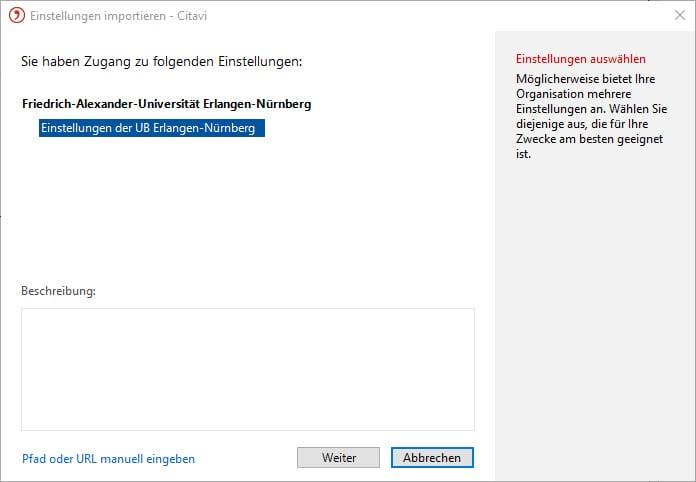 Einbinden der Einstellungsdatei direkt in Citavi nach Anmeldung unter Einstellungen – importieren - Einstellungen der UB Eerlangen-Nürnberg