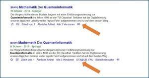 Screenshot eines Google Scholar Treffers mit Link zum Katalog