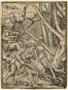 Adam bearbeitet den Ackerboden, der Tod steht neben ihm